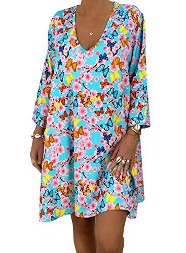 - ROSKIKI Womens Long Sleeve V Neck Casual Summer Dresses Loose Beach Sun Dresses Printing Pattern Dress Multicolor M