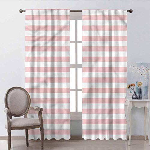 GUUVOR Blush for Bedroom Blackout Curtains Pastel Colored Pink Stripes Blackout Curtains for The Living Room W72 x L72 Inch (Silk Pink Curtains Taffeta)