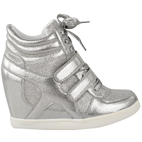 Fashion Thirsty Womens Hi Top Wedge Sneakers Trainers Sport Ankle Boots Size Silver Metallic BMHvOd