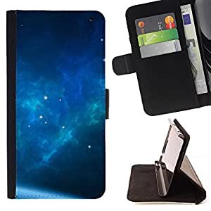 BullDog Case - FOR/Sony Xperia Z2 D6502 / - / The Blue Space Galaxy /- Monedero de cuero de la PU Llevar cubierta de la caja con el ID Credit Card Slots Flip funda de cuer