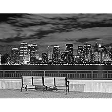 J.P. London PMUR2151 Peel and Stick Removable Wall Decal Sticker Mural, New York City Black and White Skyline Manhattan, 4 X 3-Feet