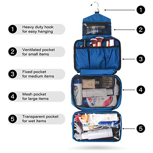 MONSTINA Travel Toiletry Bag Cosmetic Organizers with Hanging Hook Use in Hotel,Bathroom