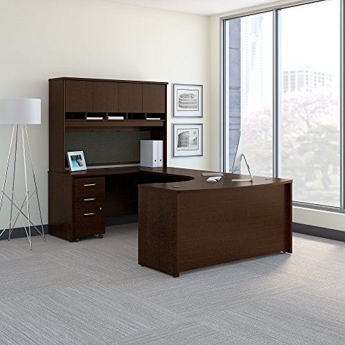 - Bush Business Furniture Series C 60W Left Handed Bow Front U Shaped Desk with Hutch and Storage in Mocha Cherry