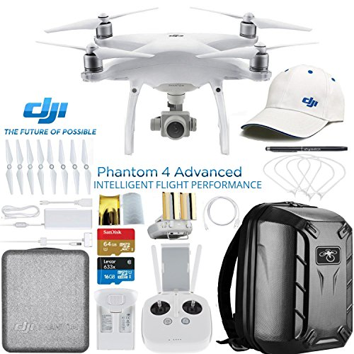 DJI Phantom 4 Advanced Quadcopter Drone w/DJI Pilot's Hat & Hard Shell Backpack Bundle