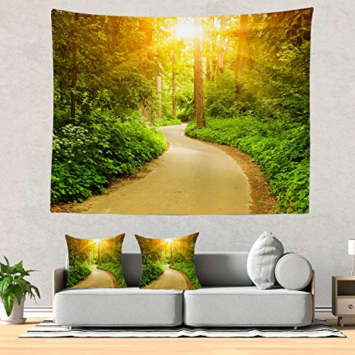 Batmerry Forest Tapestry, a Garden Path in The Woods Picnic Mat Beach Towel Wall Art Decoration for Bedroom Living Room - Garden Tapestry Path