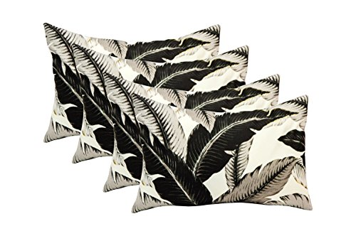 Set of 4 Indoor / Outdoor Decorative Lumbar / Rectangle Pillows Made with Tommy Bahama Home Fabric Swaying Palms - Onyx Black Palm Leaf Leaves Fabric by RSH Decor