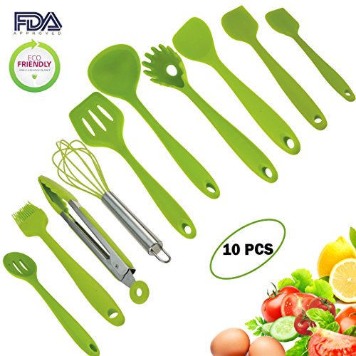 10pcs Silicone Utensils Set, Heat-Resistant, Non-Stick, Safety Health, Silicone Baking Kitchen Cooking Tool Sets (Green)