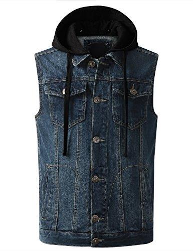 (URBANCREWS Mens Hipster Hip Hop Hooded Washed Denim Vest Jacket Indigo)