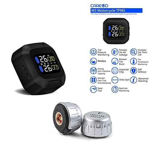 Motorcycle Tire Pressure Monitoring System with 2 External Cap Sensor Super Waterproof Sun Protection System TPMS with 2 Sensors, Wireless LCD Display