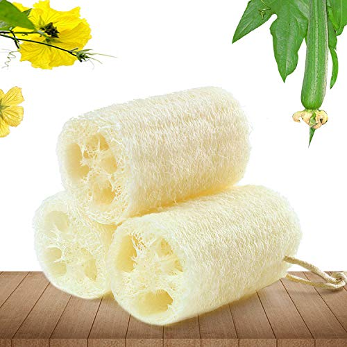 Natural Loofah Sponges Bath Sponge Natural Organic Egyptian Loofah Sponges Exfoliating Shower Loofah Body Scrubbers Natural Bath Shower Sponge Beige 3 Pack