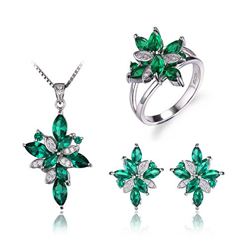 Genuine Emerald Flower (JewelryPalace Women's Flower Shape 6.4ct Created Green Nano Russian Emerald Jewelry Sets Cocktail Ring Pendant Necklace Clip On Earrings 925 Sterling Silver Size 7)