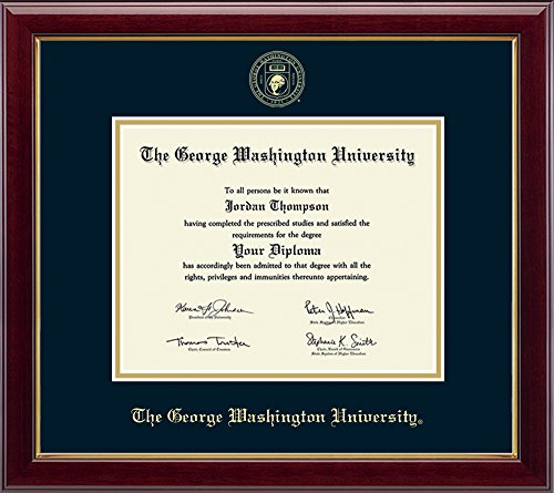 "Church Hill Classics George Washington University Gold Embossed Diploma Frame – Solid Hardwood ""Gallery"" Moulding, Officially Licensed (Diploma Size 8.5"