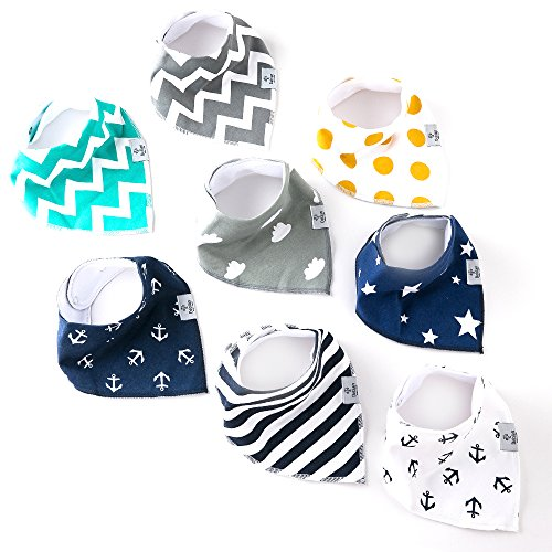 Deblan Baby Bandana Bibs, Unisex Drooling and Teething Burp Cloths, 100% Organic Soft Absorbent Cotton, 8-Pack Gift Set