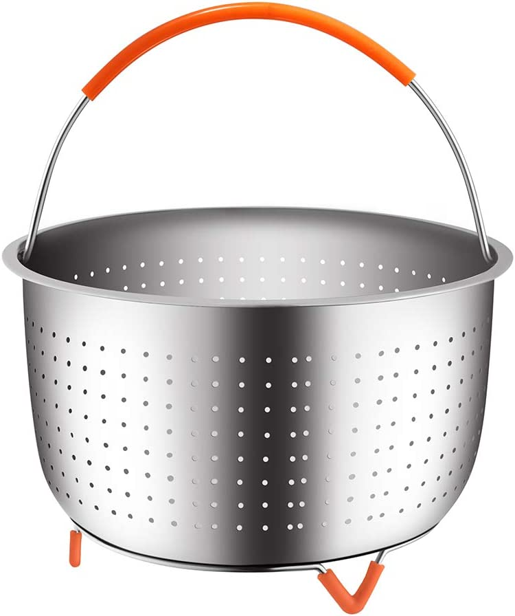 House Again Original Sturdy Steamer Basket for 3 or 5 Quart Pressure Cooker, 18/8 Stainless Steel Steamer Insert with Silicone Covered Handle, Great Accessory for Steaming Vegetables Fruits Eggs