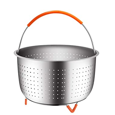 The Original Sturdy Steamer Basket for 6 or 8 Quart Instant Pot Pressure Cooker, 304 Stainless Steel Steamer Insert with Silicone Covered Handle