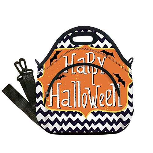 Insulated Lunch Bag,Neoprene Lunch Tote Bags,Halloween,Cute Halloween Greeting Card Inspired Design Celebration Doodle Chevron Decorative,Indigo White Orange,for Adults and children -