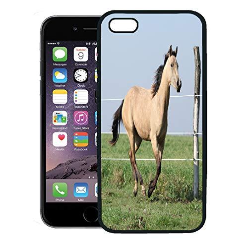 Semtomn Phone Case for iPhone 8 Plus case,Yellow Action Palomino Quarter Horse Running on Pasturage in Autumn Animal iPhone 7 Plus case Cover,Black ()