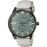 Akribos XXIV Men's Dark Gray Case with Dark Gray Dial on a Gray Canvas Strap Watch AK938GY