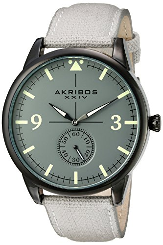 Akribos XXIV Men's Dark Gray Case with Dark Gray Dial on a Gray Canvas Strap Watch AK938GY