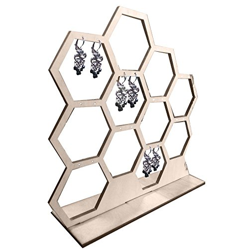 Natural Wood Honeycomb Jewelry Earring Display Stand - Honey Display