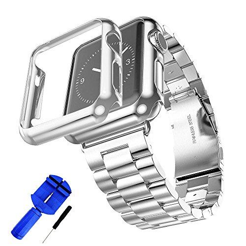 (GUIGONG Band for Apple Watch,Solid Stainless Steel Metal Strap Band w/Adapter+Case Cover for Apple Watch iWatch 38/42mm (Silver 42mm))