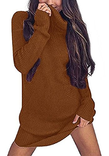 Sorrica Women's Casual Long Sleeve Knitted Sweater Stretch Turtle Neck Jumper (14, Dark (Gold Turtleneck Sweater)