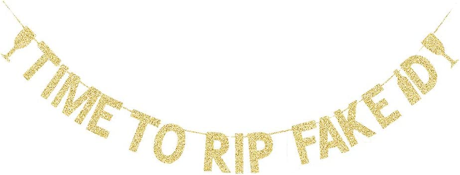 Time to Rip Fake ID Banner, Boys/Girls' 21 Years Old Birthday Party Decors Fun 21st Bday Gold Gliter Paper Photo Backdrops