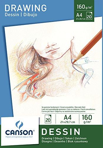 Canson 200005779 - Zeichenpapier A4, 160 g/m², 20 Blatt, weiß