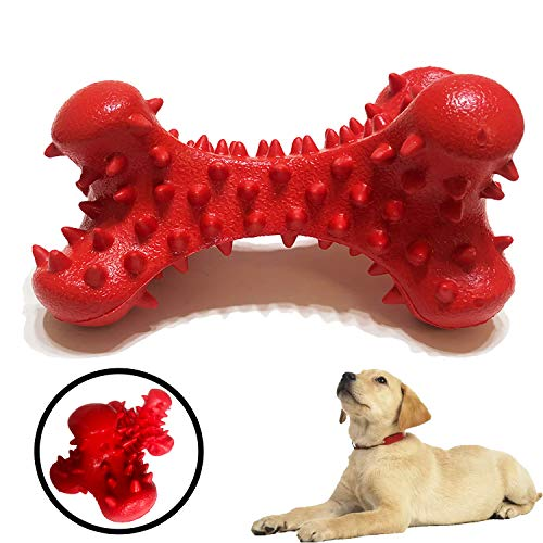 SSSFENG Durable Pet Bone Chew Toys for Aggressive Chewers Indestructible Beef Scent Dental Toy Tough Rubber Puppy…