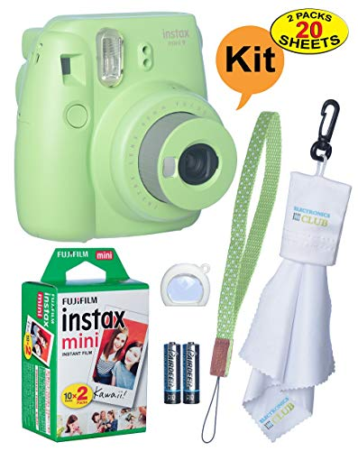 Fujifilm Instax Mini 9 Instant Film Camera + 20 Sheets of Instant Film + Lens Cleaning Cloth + Close-Up Selfie Lens + Wrist Strap | Batteries Included - Lime-Green from ElectronicsClub
