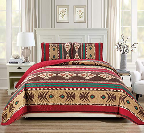 Rugs 4 Less Western Southwestern Native American Tribal Navajo Design 3 Piece in Brown Green and Burgundy Oversize Bedspread Quilt Set (Queen) 3pc Mojave Queen ()