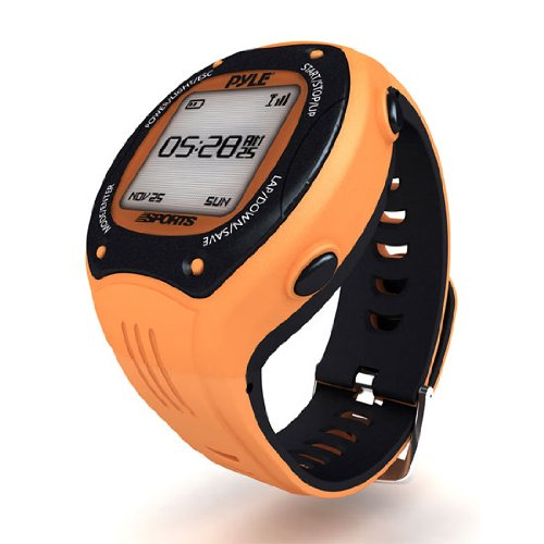 Multifunction Sports Training Wrist Watch - Smart Classic Pro Sport Exercise Running Digital Heart Rate Fitness Gear Tracker w/ GPS Navigation, Alarm, Charger, For Men / Women - Pyle PSGP310OR (Orange)