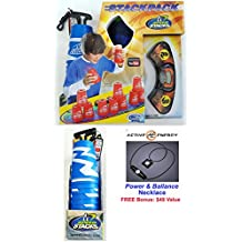 ATOMIC PUNCH Speed Stacks 2017 Limited Edition Speedstack Set of 12 Plastic Stacking Competition Cups with Voxel Glow Mat, GX Timer + Bonus: Active Energy Power Balance Necklace $49 Value