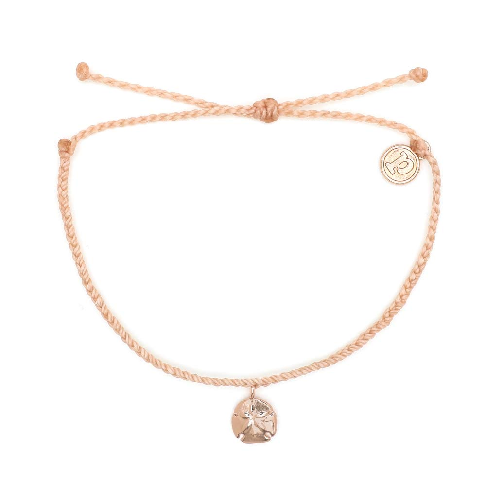 Pura Vida Rose Gold Sand Dollar Blush Bracelet - Waterproof, Artisan Handmade, Adjustable, Threaded, Fashion Jewelry for Girls/Women by Pura Vida