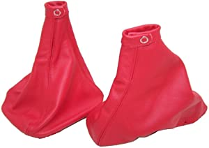 The Tuning-Shop Ltd For Alfa Romeo 156 1998-02 Shift & E Brake Boot Red Italian Leather