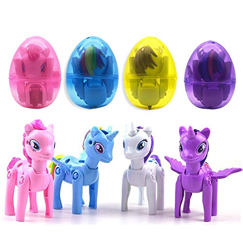 Happy Easter Gift - QICI Unicorn Toys Jumbo Pony Unicorn Deformation Toys Unicorn Building Blocks Figures Toys Gifts for Kids Boys Girls Toddlers (4 Pack)