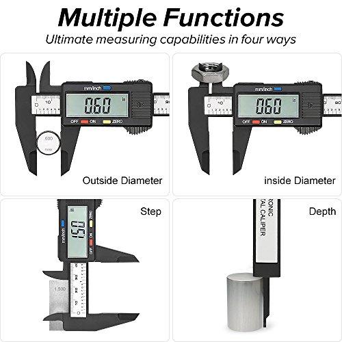 Illumifun Electronic Digital Caliper 6 inch Measuring Tool Plastic Vernier  Caliper with Large LCD Screen, 0-6 Inch/0-150 mm Conversion Auto Off