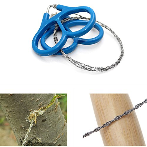 SODIAL(R) 2015 Outdoor Plastic Ring Steel Wire Saw Scroll Emergency for Hunting Camping Hiking Survival Tool