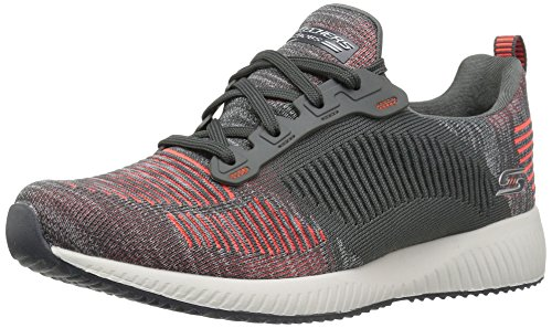 Schwarz Slip Dare Sneaker Double Squad Damen Charcoal Orange Bobs Weiß on Skechers qx8CX