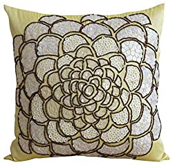 Sequin Floral Theme Pillow Cover