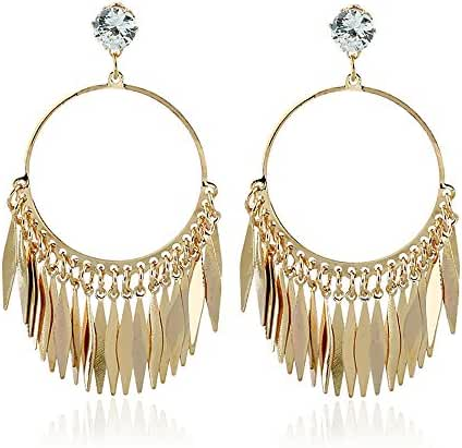 New Arrival Trendy Statement Golden Circle and Leaf Tassels with Shining CZ Earrings for Womens