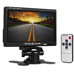 WickedHD WRC-LCD 7 Inch High Resolution Rotating Color TFT LCD Display Monitor with Remote Control and Mounting Bracket