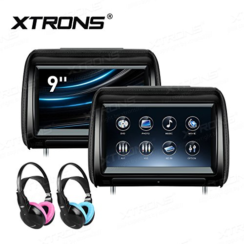 XTRONS 2 x 9 Inch Pair Car Headrest DVD Player HD Digital Adjustable Touch Screen 1080P Video Auto Games HDMI Children IR Headphones(Blue&Pink)