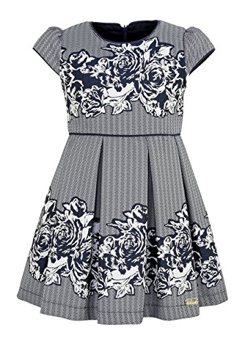 Lilax Little Girls' Zig Zag Cap Sleeve Chevron Dress 4T Navy