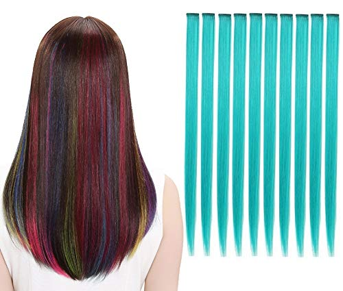 LiaSun 10Pcs/set Multi-Colors Straight Highlight Clip in Hair Extensions 20 Inch Colored Party Hair Pieces for Kids Grils Women (Teal)