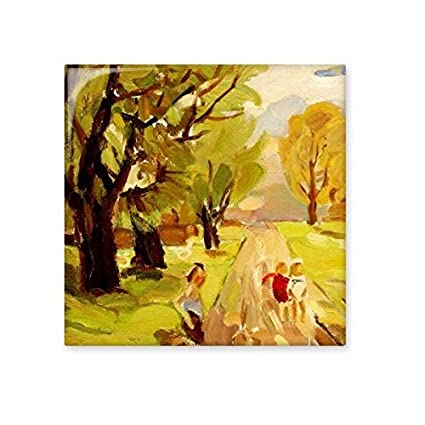 oil painting tree road figure landscape abstract illustration