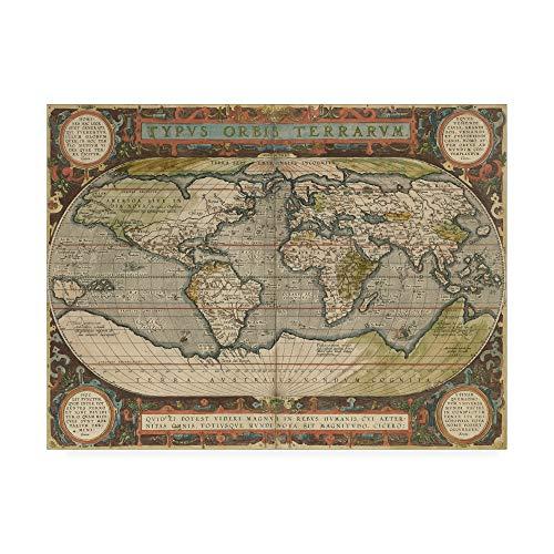 (Trademark Fine Art Antique World Map 36x48 by Vision Studio, 24x32)