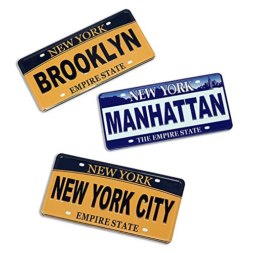 ([Set of 3] Mini New York City, Brooklyn, Manhattan Number Plate Design NY Souvenir Collectible Fridge Magnet)