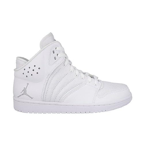 a6970857bc1 Nike Men's Jordan 1 Flight 4 Indoor Court Shoes Multicolour White/Silver ( White/