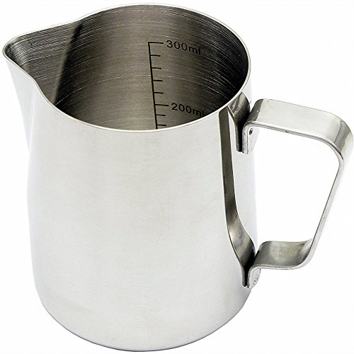 - Everyspace 12oz Milk Frothing Pitcher, 350ml Stainless Steel Jug Cup with Measurement Markings for Barista, Cappuccino, Espresso Machine, Coffee Cafe Latte Maker Art